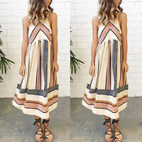 Womens Summer Casual Sleeveless Striped Beach Swing Midi Dress Size 6 8 10 12