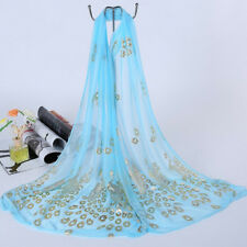 Unisex Flower Peacock Floral Scarf Chiffon Neck Wrap Sheer Shawl Stole Scarves