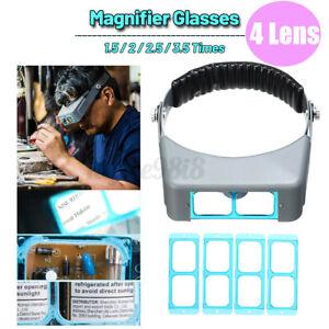 Headband Magnifying Glasses Head Hands Free Optivisor Jewellery Magnifier Lens