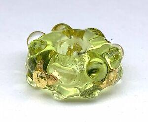 Artisan Made~Colombo~Lampwork~Large Hole~23k Gold~Glass Focal Bead~Free Shipp