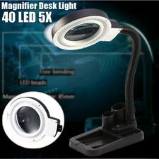 5X 10X Magnifier Magnifying Crafts Glass Desk Lamp With 40 LED Lighting NEW US