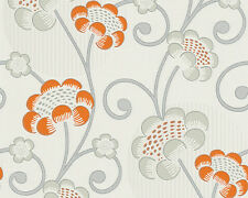 San Francisco Range Glitter Wallpaper Mixture of Blossoms Cream Metallic Orange