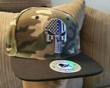 Punisher blue line camouflage Baseball Cap Flat black Bill Snapback SWAT EYE