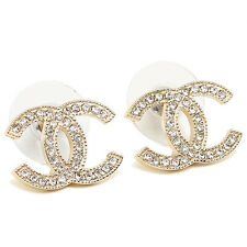AUTHENTIC CHANEL NEW GOLD TONE CC LOGO CRYSTAL EARRINGS