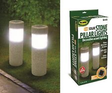 2 Solar Stone Pillar LED Lights Pathway Garden Yard Accent Walkway Landscape New