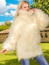 Ivory hand knit mohair sweater fuzzy turtleneck handmade SUPERTANYA jumper SALE