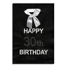 30th Black Happy Birthday Gift Bag NEW