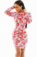 Romantic Love Red Rose Print Dress Size UK 10-12