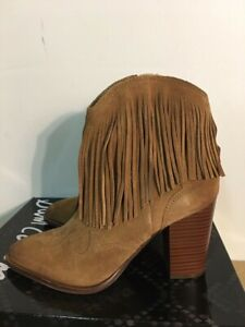 NEW Sam Edelman Benjie Women's Fringe Western Ankle Boots Tan Leather Size 8.5