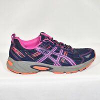 Asics Gel Venture 5 Trail Running Shoes 8 Navy Purple Pink Orange 15N8N EUC
