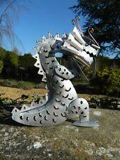 Metal Art - Dragon Sculpture Metal Dragon Ornament Figure - Silver Dragon