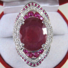 Luxury Ruby Turkish Collection 925 Silver Plated Filled Diamond Crstal Rings