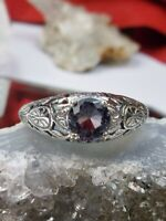 Edwardian *Purple Amethyst* Wedding Sterling Silver Etched Filigree Ring (MTO)