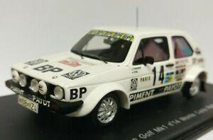 === Spark 1:43 VW Golf GTI Mk1 White #14 BP Monte Carlo Rally 1980 Silver Sleeve