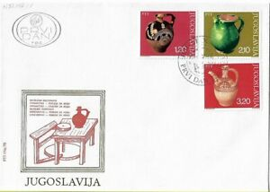 FDC 1976 Yugoslavia Museum Exhibits Arts & Crafts Vintage Stamps Pottery Clay