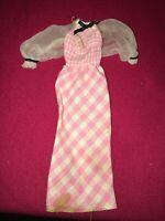 Vintage 1973 Quick Curl Barbie Doll Dress MOD Pink Plaid Sleeved Mattel 70's