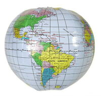 """1  INFLATABLE GLOBE 16"""" BEACH BALL INFLATE MAP TEACH WORLD GEOGRAPHY FAST SHIP!!"""