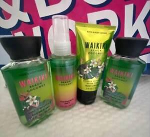 4 Bath & Body Works WAIKIKI BEACH COCONUT Travel Size ~ Gel ~ Mist ~ Body Cream