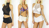 Boho Womens Crochet Halter Crop Top Summer Sleeveless Beach White Cream S M L