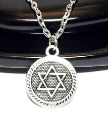 STAR OF DAVID_Small Pendant on Chain Link Necklace_Israel Jewish Hebrew Silver