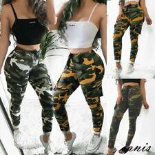 UK Women's Camo Cargo Trousers Casual Pant Military Army Combat Camouflage Print