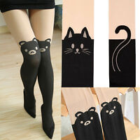 Sexy Women Gipsy Mock Over Knee Tights Pant Tattoo Cat Pantyhose Socks Stockings