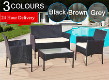More details for rattan garden furniture set 4 piece chairs sofa table outdoor patio set