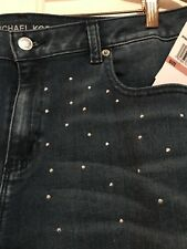 NEW $130 Michael Kors Stargaze skinny jeans low-rise Studs Crystals Bling NWT 14