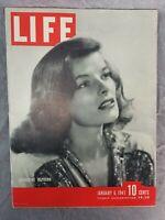 Life Magazine January 6 1941 Katharine Hepburn Cover w/ WW2 Print Ads