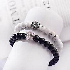Men Women Silver CZ Fox Head Charm Natural Onyx Howlite Stone Bracelet Wristband