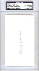 Denver Grigsby Autographed Signed 3x5 Index Card Chicago Cubs PSA/DNA #83862556