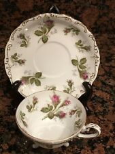 Vintage SAJI Japan Fancy China 3-Footed Tea Cup & Saucer ROSE BUD Molded Gold