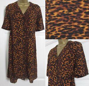NEW Warehouse Ladies Animal Print Shirt Dress Tortoiseshell Loose Fit £46 8-18