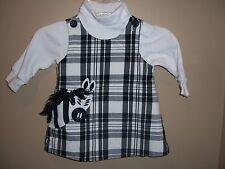 Kellys Kids Black White Plaid Zebra Jumper Dress Turtleneck Shirt Outfit 12 Mos