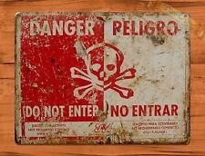 """TIN SIGN """"Danger Do Not Enter"""" Vintage Shop Ad Garage Store"""