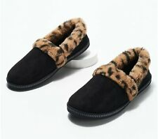Skechers Plush Faux-Fur Slippers Cozy Campfire Frisky Gal Black/Leopard NIB