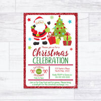CHRISTMAS INVITATIONS PERSONALISED SANTA PARTY INVITES CELEBRATION XMAS