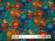 Timeless Treasures OOP Gail C4507 Blue Green Celestial Suns Moons yellow purple