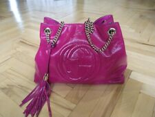100% Authentic GUCCI Soho Chain Tote Bag Pink Patent Leather Medium size