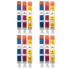 12 Colour Ink Cartridges C/M/Y for HP Officejet 6000, 6500, 6500A, 7000, 7500A