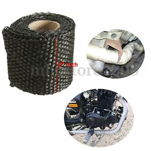 Black 2'' 1M Fiberglass Exhaust Manifold Header Pipe Downpipe Heat Wrap     ~