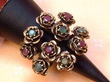Antique Design - Blumen Ring mit Rubinen & Smaragden - Sterling Silber - 925 -