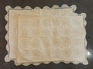2 Crocheted Envelope Back Pillow Shams Standard Size Ivory Ecru Scallop Edge EUC