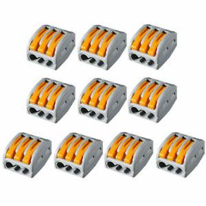 10PCS Reusable Spring Lever Terminal Block Electric Cable Wire Connectors 3 Way