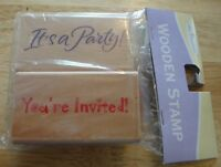 """It's a Party! & You're Invited! 2.75"""" x 1.5""""  Wood Rubber Stamps Birthday NIP"""