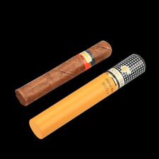 COHIBA Alloy Cigar Jar Tube Humidor Holder W/ Humidifier Yellow