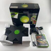 Original Microsoft XBOX Black Console System Complete In Box CIB + Styrofoam