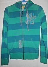 BILLABONG juniors teal blue striped patched well worn zip front hoodie size M