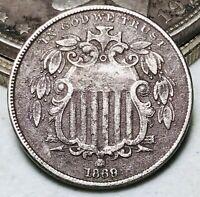 1869 Shield Nickel 5 Cents 5C Ungraded Civil War Era Good Date US Coin CC7150