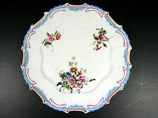 PORCELAINE DE LIMOGES PLAT PEINT ANCIEN décor fleurs 19 ème signé J MORY a GIEN